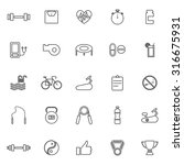 fitness line icons on white... | Shutterstock .eps vector #316675931