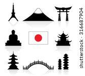 japan landmarks icon set.... | Shutterstock .eps vector #316687904
