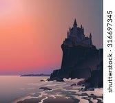 Dark Castle. Vector...