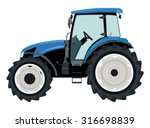 Blue Tractor A Side View On...