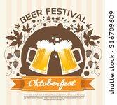 oktoberfest festival two glass... | Shutterstock .eps vector #316709609