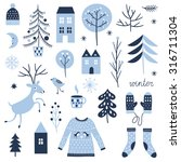 set of christmas graphic... | Shutterstock .eps vector #316711304