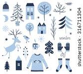 set of christmas graphic... | Shutterstock .eps vector #316711304