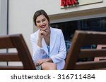 fashionable girl in a blouse... | Shutterstock . vector #316711484