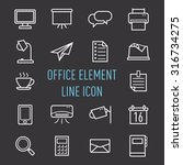 set of office element line icon ...