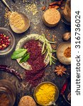 herbs and spices selection with ... | Shutterstock . vector #316736024