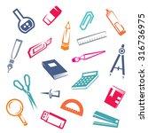 stationary stylized icons set ... | Shutterstock .eps vector #316736975