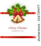 bow and golden christmas bells... | Shutterstock .eps vector #316739477