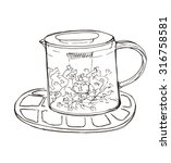 sketch glass teapot with herbal ...   Shutterstock . vector #316758581