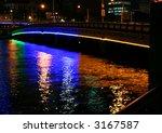 Queens bridge and Yarra river at night (Melbourne, Australia) - stock photo