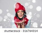 Christmas Girl. Mixed Race...