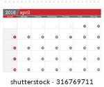 april 2016 planning calendar | Shutterstock .eps vector #316769711