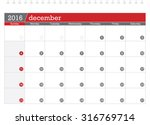 december 2016 planning calendar | Shutterstock .eps vector #316769714