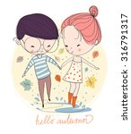 boy and girl. love cards. theme ... | Shutterstock .eps vector #316791317