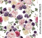 Stock photo seamless floral pattern with roses watercolor 316798325