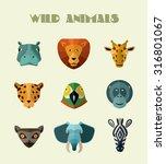 funny wild animals icon... | Shutterstock .eps vector #316801067