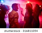 Stock photo happy couple and their friends dancing in disco club 316811054