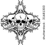 vector image of  skull with ... | Shutterstock .eps vector #31681303