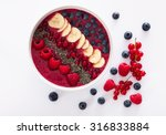 berry smoothie bowl with chia... | Shutterstock . vector #316833884
