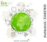 creative drawing world map... | Shutterstock .eps vector #316837835
