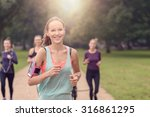 half body shot of an athletic... | Shutterstock . vector #316861295