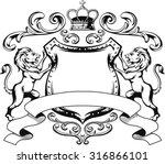 heraldic lion shield crest... | Shutterstock .eps vector #316866101