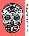 sugar skull day of the dead ...   Shutterstock .eps vector #316879334
