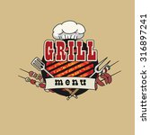grill menu symbol  icon  with... | Shutterstock .eps vector #316897241