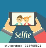 boy and girl taking selfie... | Shutterstock .eps vector #316905821