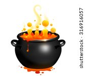 black vector cauldron with... | Shutterstock .eps vector #316916057