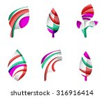 set of abstract eco leaf icons  ... | Shutterstock . vector #316916414