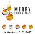 set of abstract christmas ball... | Shutterstock . vector #316917497
