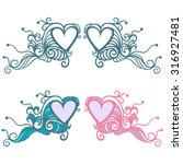heart and waves. decorative... | Shutterstock .eps vector #316927481