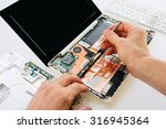 the engineer repairs the laptop ... | Shutterstock . vector #316945364