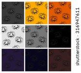 pumpkins for halloween with a... | Shutterstock . vector #316947611