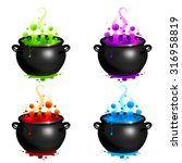 black vector cauldrons set with ... | Shutterstock .eps vector #316958819