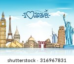 travel and tourism background... | Shutterstock .eps vector #316967831