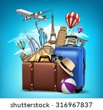 travel and tourism with famous... | Shutterstock .eps vector #316967837