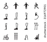 disabled prosthesis icon set | Shutterstock .eps vector #316972901
