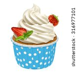 cupcake with whipped vanilla... | Shutterstock . vector #316977101