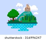 vector flat landscape with... | Shutterstock .eps vector #316996247