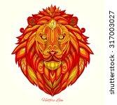 lion red ornament ethnic vector ... | Shutterstock .eps vector #317003027