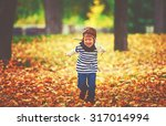 happy child playing pilot...   Shutterstock . vector #317014994