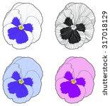 pansy flower vector   Shutterstock .eps vector #317018129