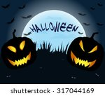 two pumpkins on a background of ... | Shutterstock . vector #317044169