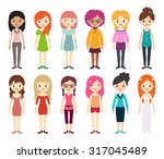 collection of different women... | Shutterstock .eps vector #317045489