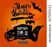 vector happy halloween poster... | Shutterstock .eps vector #317054111