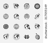 global and world sign icons set. | Shutterstock .eps vector #317055149
