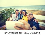 diversity friends selfie photo... | Shutterstock . vector #317063345