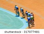 bike race on velodrome track... | Shutterstock . vector #317077481